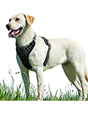 Eagloo No Pull Dog Harness with Front Clip, Walking Pet Harness with 2 Metal Ring,and Handle Reflective Oxford Padded Soft Vest for Small Medium Large Breed, Black, M