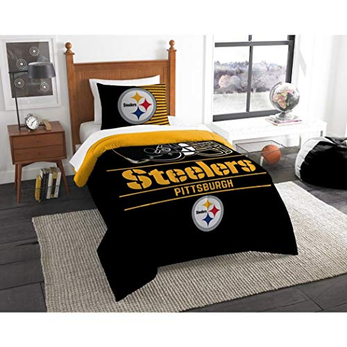 2pc NFL Pittsburgh Steelers Comforter Twin Set, Sports Patterned Bedding, Team Spirit, National Football League, , Fan Merchandise, Yellow, Team Logo, Black, Football Themed
