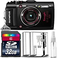 Olympus Stylus TOUGH TG-4 Digital Camera (Black) + 32GB CLASS 10 MEMORY CARD + Replacement Battery for Olympus LI-92B + Cleaning Kit - International Version