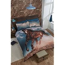 GALLOPING HORSE STALLION BROWN BLUE CANADIAN QUEEN SIZE (230CM X 220CM - UK KING SIZE) COTTON BLEND REVERSIBLE DUVET COMFORTER COVER