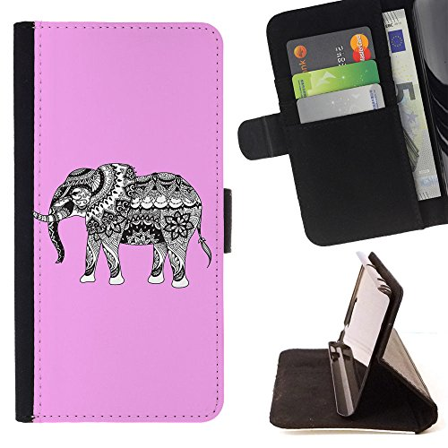 Tribal Elephant T-light Holder (Graphic4You Tribal Elephant (Light Pink) Thin Wallet Card Holder Leather Case Cover for LG Tribute HD/LG X Style/LG K10 Power)