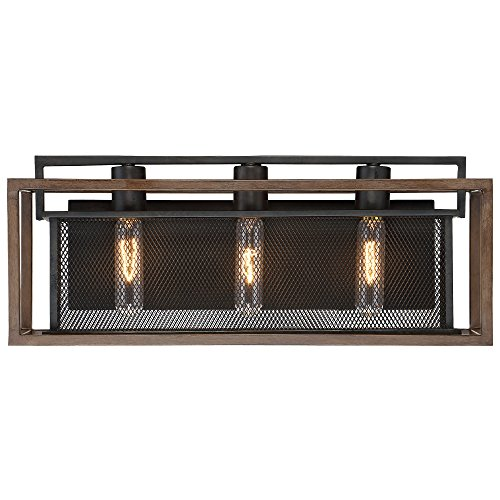 Varaluz 285B03DOBL Rio Lobo 3-Light Bath Fixture - Dark Oak Finish with Black - Two Tone Bath Light