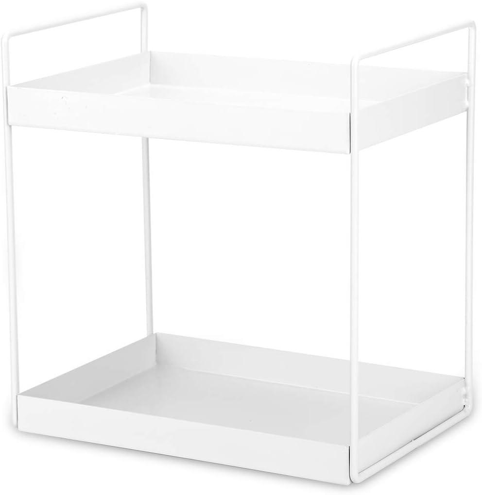 Hossejoy 2-Tier Bathroom Countertop Storage Organizer Rack, Metal Cosmetic Display Holder Shelf, Office Supplies Desktop Standing Shelf, Kitchen Spice Rack, White