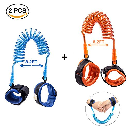 [2 Pack] Toddler Harness Walking Leash- Child Anti Lost Wrist Link - Child Safety Harness - 2.5M Orange + 2.5M Blue- Child Safety Wrist Strap by HoLeis