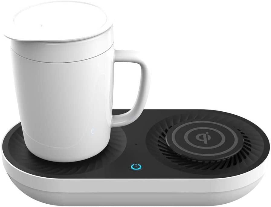 Minxue coffee Mug warmer drink cooler 48 watt Wireless Qi-Certified Fast Charger desk home office use office 12oz mug, idea gift 3 in 1