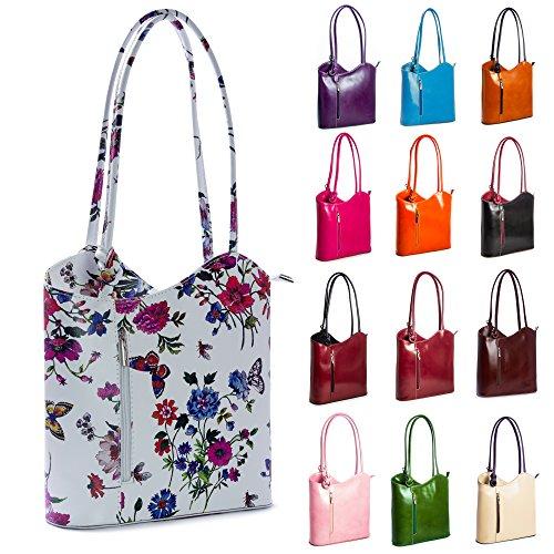 Bag Shoulder Leather Or red Trim Big Genuine Italian Backpack Handbag Carry Shop Black Womens On qRB8Px