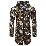 Faionny Mens Hoodies Summer Blouse Camouflage Print Coat Suntan-Proof Tops Long Zipper T-Shirt