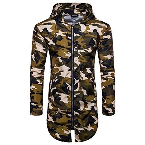 Faionny Mens Hoodies Summer Blouse Camouflage Print Coat Suntan-Proof Tops Long Zipper T-Shirt by Faionny