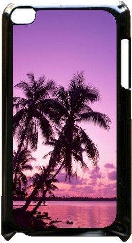 Purple Sunset Palm Tree Black plastic snap on case - for the Apple iPod iTouch 4th Generation. Black 4th Generation Ipod
