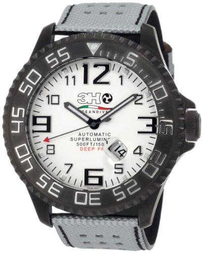 - 3H Men's T10N Titanium Black PVD Automatic Divers Jumbo Dial Interchangeable Band Watch
