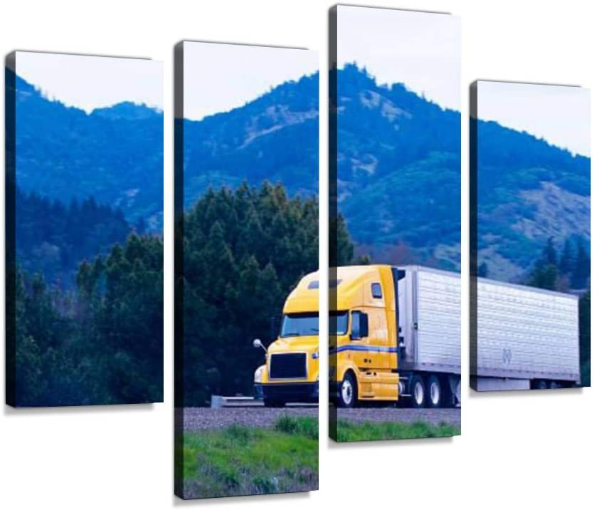 Canvas Wall Art Painting Pictures Cargo semi Truck Reefer Trailer Yellow Green Highway Winding Modern Artwork Framed Posters for Living Room Ready to Hang Home Decor 4PANEL