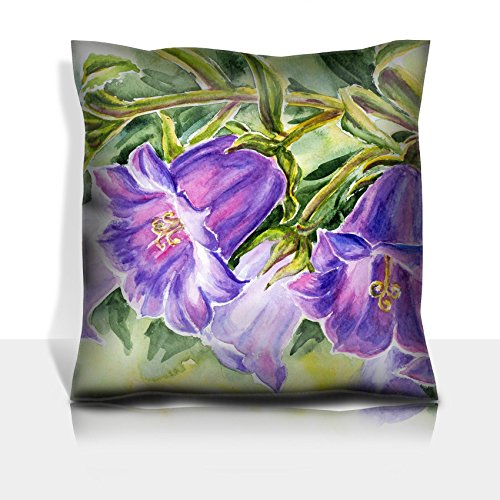 Luxlady Throw Pillowcase Polyester Satin Comfortable Decorative Soft Pillow Covers Protector sofa 16x16, 1 pack IMAGE ID: 21980549 Watercolor painting of the bell flowers