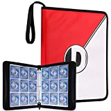 DRZERUI Carrying Case Compatible with Pokemon Trading Cards, Cards Collectors Album with 30 Premium 9-Pocket Pages, Holds Up to 540 Cards(Red and White Version)