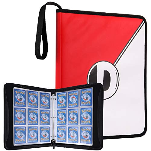 (DRZERUI Carrying Case Compatible with Pokemon Trading Cards, Cards Collectors Album with 30 Premium 9-Pocket Pages, Holds Up to 540 Cards(Red and White Version))