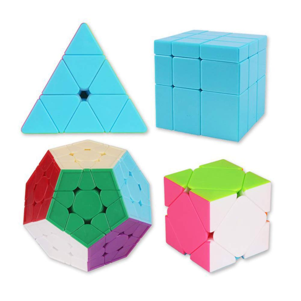 JIAAE Science and Education Magic Cube Set, Pyramid, Mirror, Oblique Turn and Five Magic Teaching Combination Cube(Set of 4)