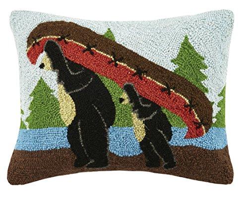 Peking Handicraft Bears Holding Canoe Hook Pillow, Multicolored