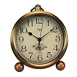 Maxspace Metal Golden Table Clock, Retro Vintage Non-Ticking Small Alarm Clock,Battery Operated Silent Quartz Movement HD Glass Desk Clock for Bedroom Living Room Indoor Decoration Kids (Arabic)