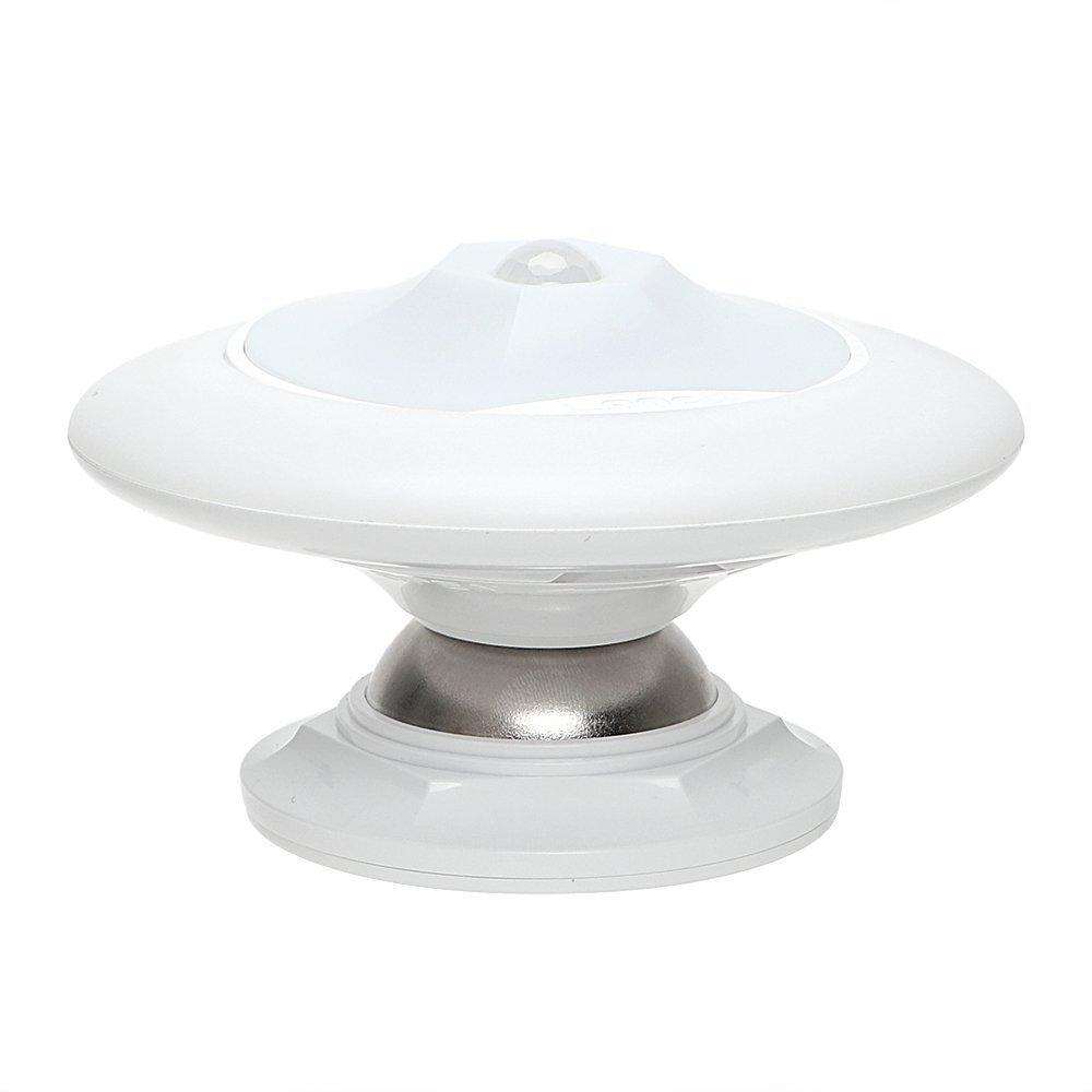 EasyinSmile LED Motion-Sensing Night Light Infrared Sensor Indoor Wall Lamp Battery Operated 360 Degree Rotation (White Light)