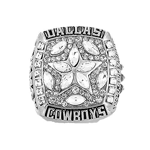 Gloral HIF Dallas Cowboys Football Championship Ring Supper Bowl Rings Without Box Size 11, Silver Without Box