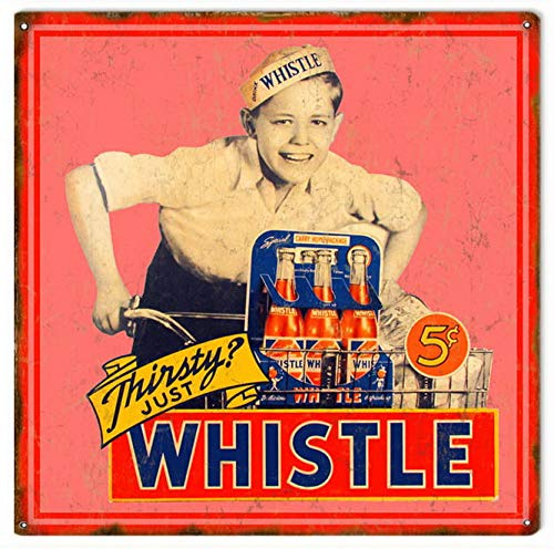 (Tefoll Garage Wall Signs Whistle Soda Pop Retro Vintage Tin Metal Sign 12X12 Inches )