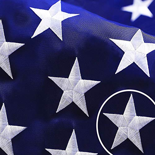 G128 - American USA US Flag 6x10 ft Deluxe Embroidered Stars Sewn Stripes Brass Grommets Durable Indoor Outdoor Use
