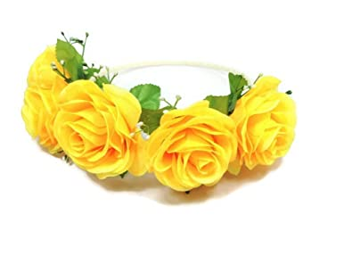 Yellow   Floral Crown Circlet Tiara Handmade Headband A2 (Yellow)   Amazon.in  Jewellery 5d98f35f0ac