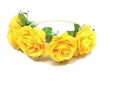 Yellow   Floral Crown Circlet Tiara Handmade Headband A2 (Yellow)   Amazon.in  Jewellery 3f38105de24