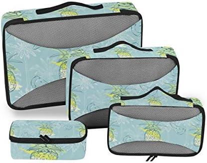 パイナップル絵画ブルーアート荷物パッキングキューブオーガナイザートイレタリーランドリーストレージバッグポーチパックキューブ4さまざまなサイズセットトラベルキッズレディース
