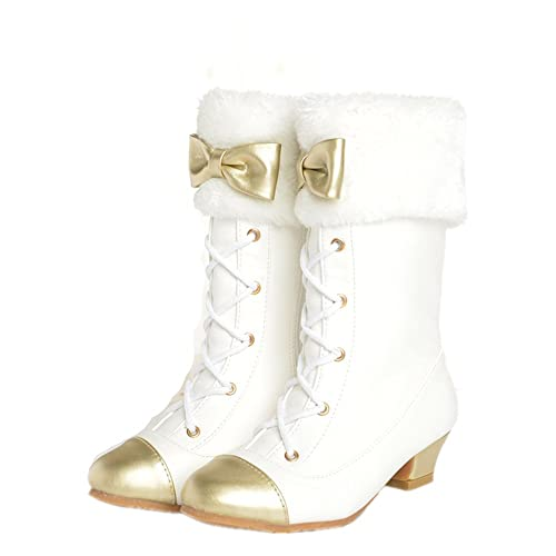 313b6e3c291 Girls Snow Boots with High Heels Butterfly-Knot Princess Boots ...
