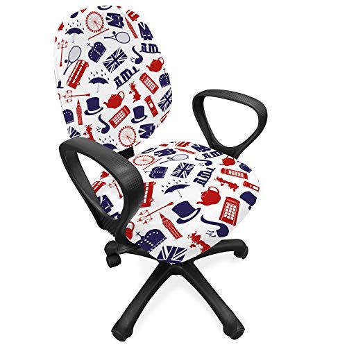 ABAKUHAUS Londres Funda Protectora para Silla de Oficina, Reino Unido Pais, Protectora con Estampa Digital Decorativa Tejido Elastizado, Azul Real Blanco Rojo