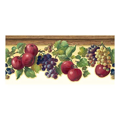 York Wallcoverings KH7132B Kitchen And Bath Fruit And Ivy Border,  Butterscotch/Red/Purple/Various Shades Of Green