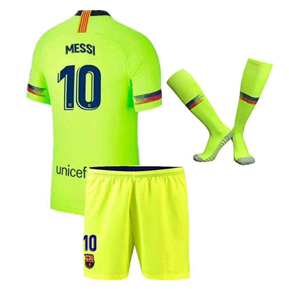 858476b9c52 2018-2019 Season Barcelona Away  10 Messi Kids Youth Soccer Jersey   Shorts    Socks Color Red Blue Size 6-7Years