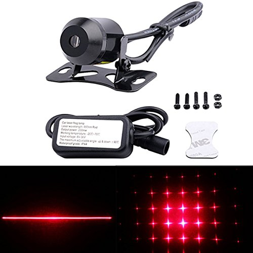 FICBOX Universal Car and Motorcycle Rear-end Alarm Laser Fog Taillight Anti-Collision Warning Lamp (Stars)