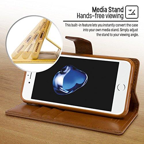 iPhone 7 Plus/ iPhone 8 Plus fundas, [Drop Protection] GOOSPERY® Blue Moon Diary Caja del teléfono de la imitación de cuero tirón de la carpeta Case fundas para Apple iPhone 7 Plus/ iPhone 8 Plus - Bl Brown