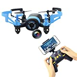 iphone remote helicopter - Fistone RC Drone Quadcopter Remote Control Aircraft 2.4G Built-in 6-Axis Gyro Wifi Camera for Iphone Android Mini RC Helicopter Real-Time Video HD Camera with Headless Mode Blue