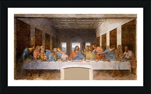 Alonline Art - The Last Supper Leonardo Da Vinci Black FRAMED POSTER (Print on 100% Cotton CANVAS on foam board) - READY TO HANG | 43