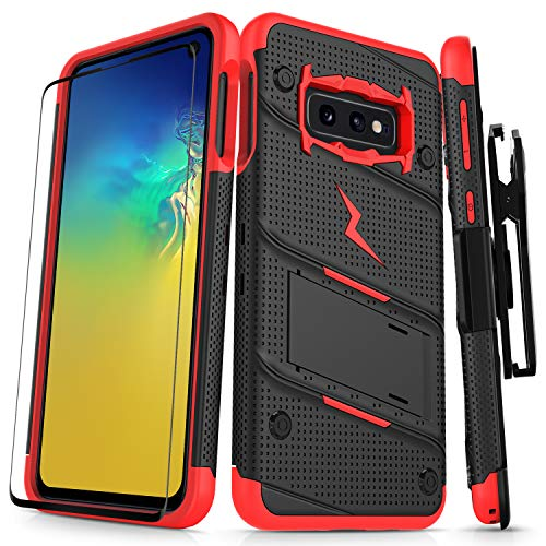 (ZIZO Bolt Galaxy S10e Case Heavy-Duty Military Grade Drop Tested Bundle with Tempered Glass Screen Protector Holster and Kickstand Black Red)
