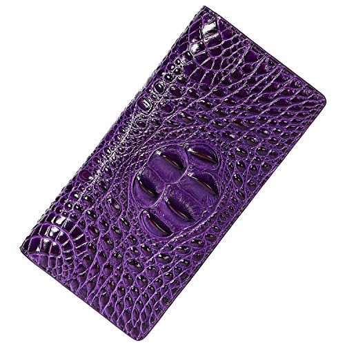 - PIJUSHI Women Leather Wallet Embossed Crocodile Clutch Wallet Card Holder Organizer (359-12 Purple)