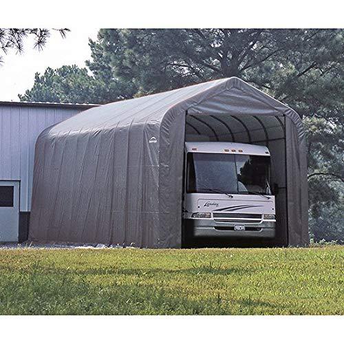 Shelterlogic Grey Automotive/Boat Peak Style Outdoor Garage Storage Shed 18 feet wide x 20 feet long x 12 feet high