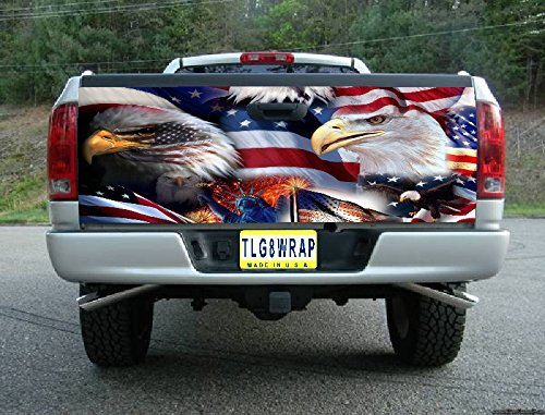 Avery T40 American Flag Eagle USA Tailgate WRAP Vinyl Graphic Decal Sticker F150 F250 F350 Ram Silverado Sierra Tundra Ranger Frontier Titan Tacoma 1500 2500 3500 Bed Cover Tint Image