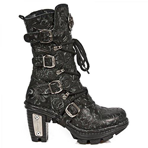 Nuovi Stivali Da Roccia M.neotr005-s25 Gotico Hardrock Punk Damen Stiefel Schwarz