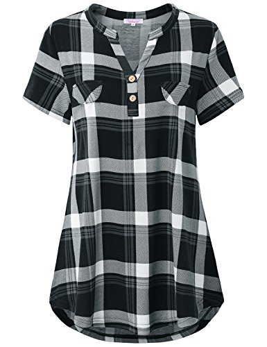 Misswor Short Sleeve Shirts for Women, Ladies Blouses with Pocket Split V Neck Short Sleeve Blouse Buffalo Plaid Button up Tunic Tops Office Boutique Clothing Grey M Buffalo Plaid Tunic Top