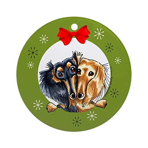 CafePress Black Tan Longhair Dachshund Christmas Ornament Round Holiday Christmas Ornament