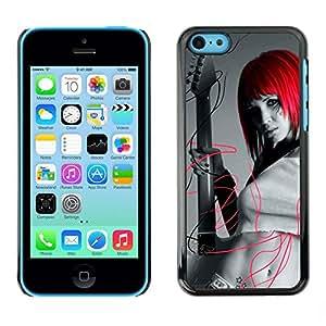 LASTONE PHONE CASE / Carcasa Funda Prima Delgada SLIM Casa Carcasa Funda Case Bandera Cover Armor Shell para Apple Iphone 5C / Design Red Head Girl