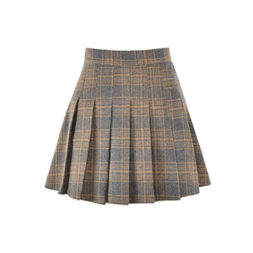 Hoerev Women Girls Versatile Plaid Pleated Skirt With Shorts For Cold Weather (Brown Pleated Skirt)