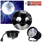 "8"" Mirror Ball Complete Party Kit with Pinspot and Motor - Adkins Professional Lighting"