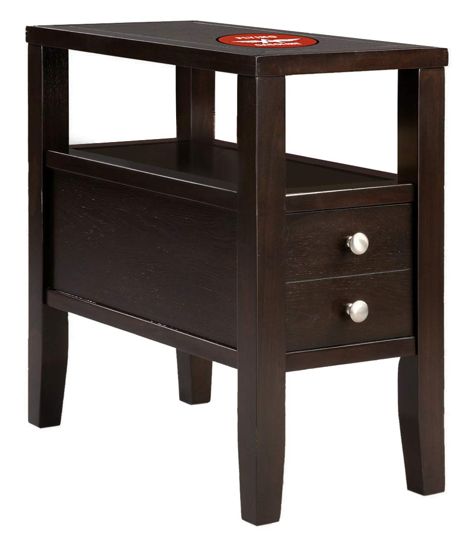 Amazon com the furniture cove wood end table night stand with drawer cappuccino espresso finish featuring an american gas theme decal logo kitchen