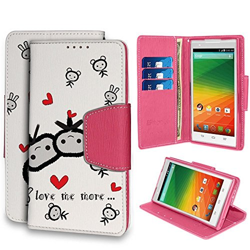 Spots8 ZTE Z Max Z970 Case PU Leather TPU Card Slot Bill Fold Magnetic Flap Kickstand Love Me More