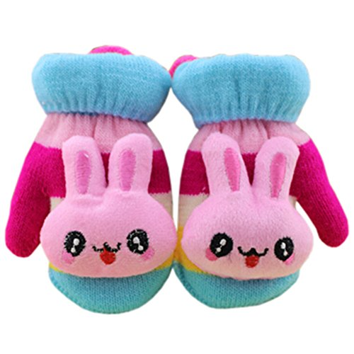 Hot 1 Pair Children's Winter Gloves Soft knitted&Warm Mittens (0-3 Years)Blue for sale