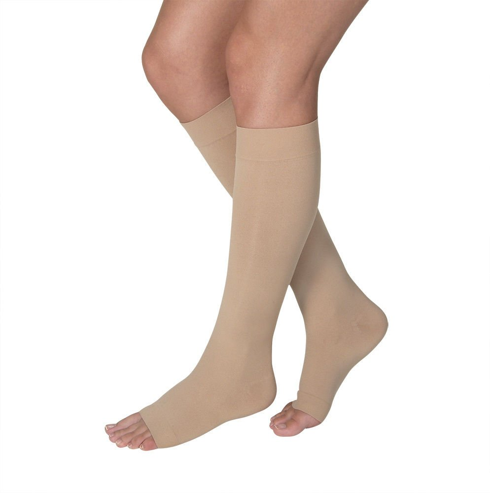 Women's Opaque 15-20 mmHg Open Toe Knee High Support Stocking Size: Medium, Color: Natural
